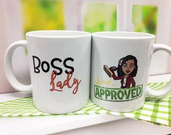 Bitmoji Mugs, Custom Bitmoji Mugs, Personalized Mug, Boss Lady Mug, Funny Mugs, Best Friend Gift, Best Friend, Snapchat, Gift for Boss
