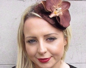 Chocolate Brown Orchid Net Flower Fascinator Teardrop Races Headband Hair 3633