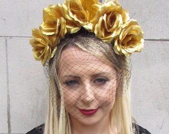 Large Black Gold Rose Flower Veil Headband Sugar Skull Goth Halloween Big 3639