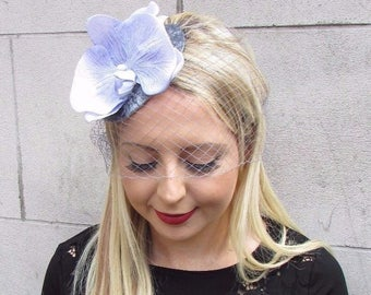 Lilac Grey Velvet Veil Orchid Flower Fascinator Hat Races Pillbox Wedding 3641