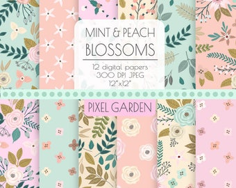 Pastel Floral Digital Paper. Shabby Cottage Chic Scrapbook Paper. Pink, Mint, Peach, Yellow Hand Drawn Peony, Rose, Flower Background.