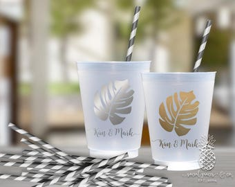Frosted Cups | Personalized Wedding Cup | Monogrammed Cups | Tropical Palm | social graces Co.