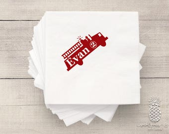 Firetruck Birthday or Baby Shower Napkins | Personalized Napkin | Party Napkins