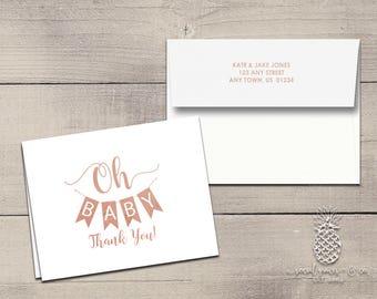 Baby Shower Banner Letterpress Foil Thank You Cards & Envelopes - Correspondence Cards - Custom Stationery Note Cards