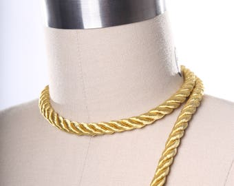 Gold Satin Rope Trim. Spanish Gold Silky Rope Tape/ Satin Rope Tape/ Beige Satin Cord Trim/ Rope for Curtains