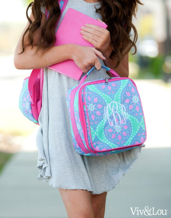 Monogrammed Kids Lunch Bag Personalized Insulated Lunchbox Back To School Pink and Purple Lunch Tote Multicolor Tile Print Highway12Designs