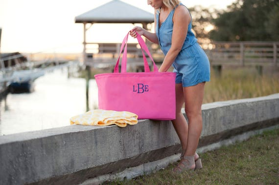 Monogrammed Tote Personalized Beach Bag Large Tote Bag Hot Pink Tote Bag Personalized Gifts Weddings Bridesmaids Gifts Highway12Designs