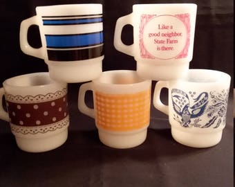 5 Assorted Fire King Stackable Mugs