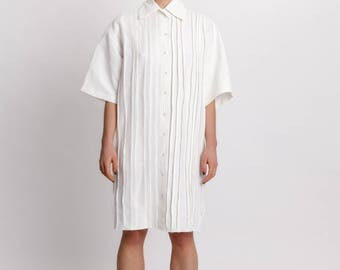 Woman's white linen shirt dress / Linen elegant knee length / Hand pleated shirt dress / Designer summer dress / Fasada 18013