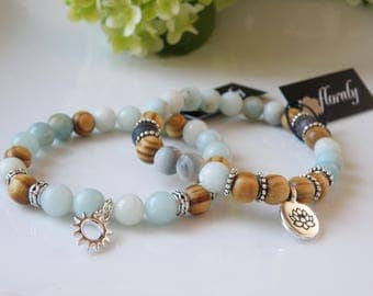 Amazonite stones and wooden beads, charm bracelets Sun or lotus, handmade in quebec