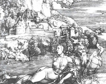 "Albrecht Durer ""The Sea Monster"" 1498 Reproduction Digital Print Black and White Home Decor Wall Hanging"