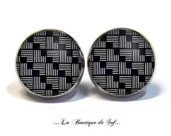 Stud Earrings with cabochon 12 mm * patterns geoemtriques * (010617)