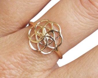 Gold Ring, Seed of Life Ring, Flower of Life Ring, Sacred Geometry Ring, Ethnic Ring, Flower Ring, Round Ring, Symbol Ring, Gold Plated Ring