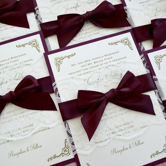 JENNIFER - Burgundy and Ivory Lace Wedding Invitation- Ivory Lace Belly Band with Burgundy Ribbon Bow - Elegant and Classic Wedding Invite