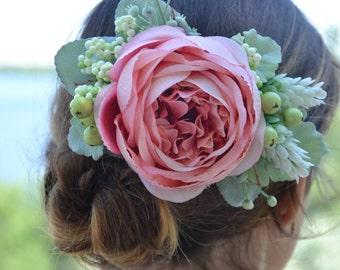 Bridal hair clip Wedding hair Bridesmaid flower clip Pink floral clip Summer wedding Flower hair clip Bridal accessories Gift for her Pink