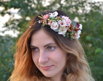 Wedding/flower/crown Bridal flower halo Ivory Wedding flower headband Wedding flower fascinator Beige flower crown Ivory flower head wreath