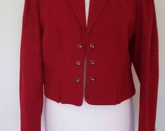 Vintage Jacket blazer 1980s made by Original Distler Trachen Red wool jacket size large