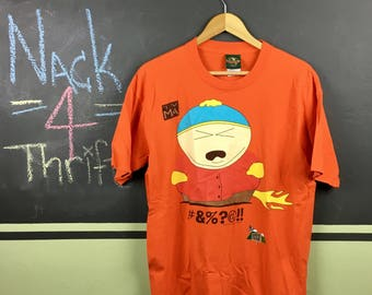 Vintage 1997 South Park Eric Cartman Farting Flames Rated TV MA Comedy Central Orange Size Large T-Shirt