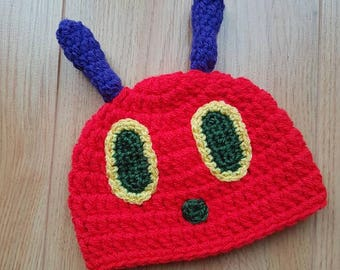 Crochet Caterpillar Hat, The Very Hungry Caterpillar, Newborn 0-3 Months, Baby Hat, Handmade, Baby Shower Gift, Crocheted, Character, Book