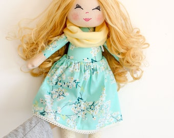 Blonde curly hair doll cloth doll rag doll textile doll art gallery fabric outfit long hair