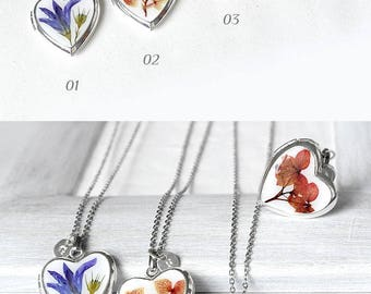 Gift heart necklace personalized gift necklace Pressed flower locket necklace initial gift Love jewelry for friend Locket pendant for women