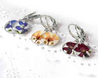 clothing gift Natural earrings flowers Dangle earrings for flower girls Floral earrings womens Nature earrings Terrarium jewelry Lever back
