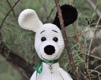 Crochet Buffy dog. Gray little stuffed dog named Buffy. Movie toy.