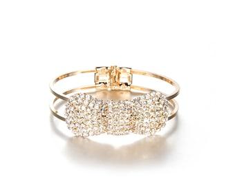Sparkling CZ Crystal Bow Bracelet