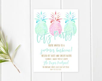 Barbecue Invitation, Summer, Pineapples, Pineapple Invitation, Summer Party, BBQ, Pineapple, Summer Invitation, Pool Party, Pool [618]