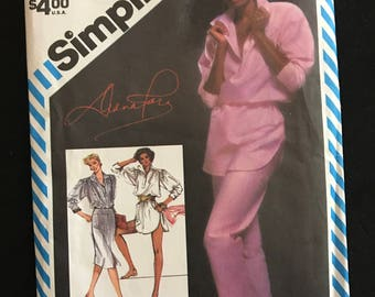 Simplicity 5875 - 1980s Diana Ross Yoked Top or Tunic with Shirttail Hem, Pants, and Skirt - Size 14 Bust 36