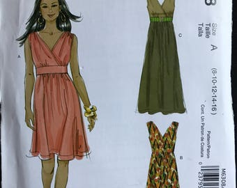 McCalls M6308 - Semi Fitted Sundress with Surplice Bodice and Shaped Midriff in Above Knee or Maxi Length - Size 8 10 12 14 16