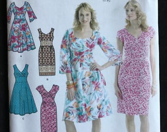 Simplicity 3774 - V or Shaped Neckline Dress with Flared or Straight Skirt and Shaped Midriff with Contrast Option - Size 6 8 10 12 14