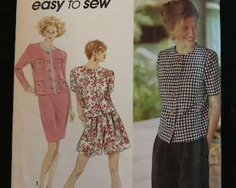 Simplicity 7867 - 1990s Long or Short Sleeves Unlined Jacket, Slim Skirt and Flared Shorts - Size 10