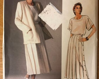 Vogue 1507 - 1980s American Designer Calvin Klein Jacket, Top, and Side Button Skirt - Size 10 Bust 32.5