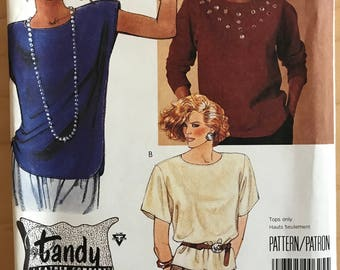 McCalls 3356 - 1980s Easy to Sew Tandy Leather Top with Extended Shoulders and Cap, Short, or Long Sleeves - Size 12 Bust 34