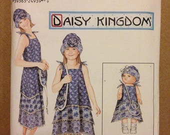 "Simplicity 0642 Daisy Kingdom Mother Daughter Sun Dress with Bucket Hat and Matching 18"" Doll Pattern - Size 3-8 & 6-18"