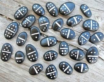 Pebble Dominoes, Domino Game, Domino Set, Handmade Dominoes, Beach Stone Game, Black and White, Dominos