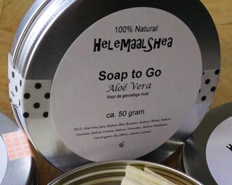 Soap to Go, Aloe Vera / travel soap / single use soap sticks / in a tin / natural / bars / pieces / Soap petals / bits / no perfume