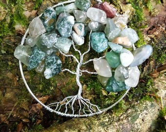 Moss Agate Tree of Life Pendant