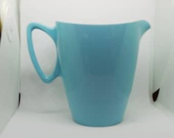 Blue melamine jug,  Vintage aqua plastic jug with white interior
