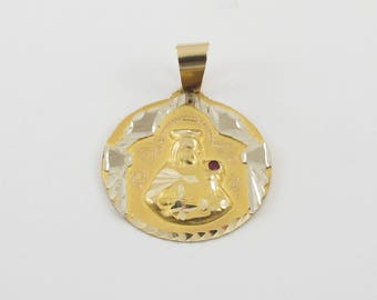 14k Yellow Gold Santa Barbara Pendant, 14k Yellow gold religious charm