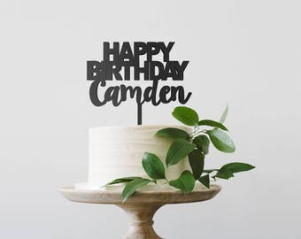 Custom Happy Birthday Cake Topper, Personalized Birthday Cake Topper, Birthday Boy Cake Topper, Happy Birthday,  Wood Cake Topper