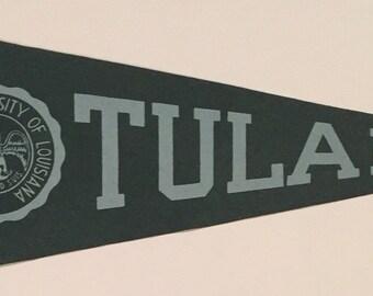 Circa 1940's Tulane University Full Size Felt Pennant - Vintage College Football