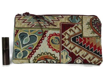 Kilim paisley makeup bag, boho pencil case, evening purse, gobelin clutch, small purse, zippered pouch, makeup bag, upholstery pouch