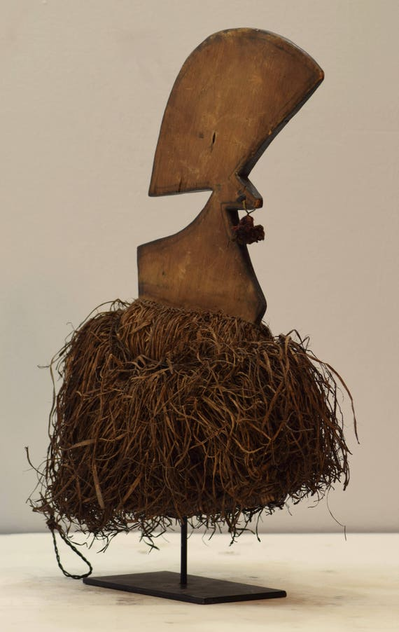 African Headdres Mbaka Ceremonial Wood Rafia Headdress Mbaka People Congo