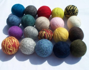 Wool Dryer Balls, Felted, Eco-Friendly, Unscented, Choice of Colors