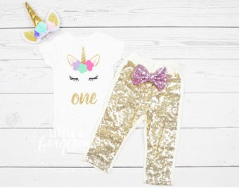Girls First Birthday Unicorn Onesie, 1st Birthday Onesie Unicorn, First Birthday Girl Outfit, Unicorn Birthday Outfit, Unicorn Headband