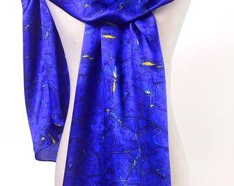 "Multi-colored 100% Silk Charmeuse Scarf: ""Lapis"""