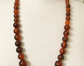 Vintage Amber Lucite Large Graduated Bead Necklace