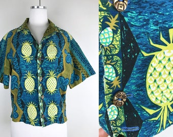 1960s Kay O'Kauai Tropical Tiki Shirt // 60s Blue Green Hawaiian Shirt with Flowers and Pineapples